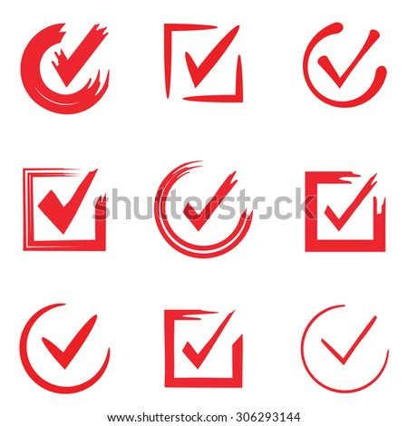 red check marks - stock vector