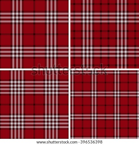 Red Check Plaid Patterns. Lumberjack Flannel Shirt Inspired. Square Pixel Gingham. Seamless Tiles. Trendy Hipster Style Backgrounds. Vector File's Pattern Swatches - stock vector