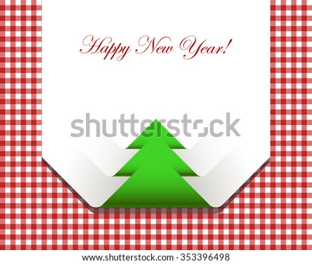 Red checkered picnic tablecloth with paper napkin christmas design - stock vector