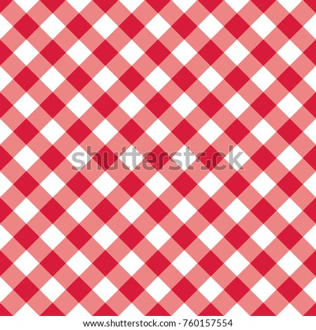 Red Checkered Textile Products. Texture Gingham Seamless Pattern. Vector  Illustration Squares Or Rhombus For