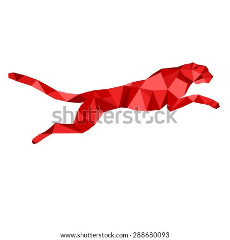 Red cheetah stylized triangle polygonal model