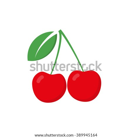 Red cherry vector icon. Red cherry isolated on white background
