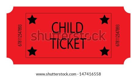 Red Child Ticket. Vector - stock vector