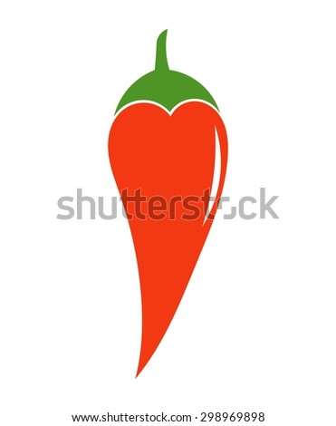 Red chili pepper icon. Vector illustration - stock vector