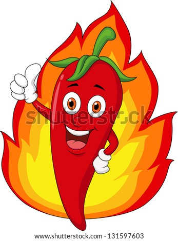 Red chili with thumb up and fire