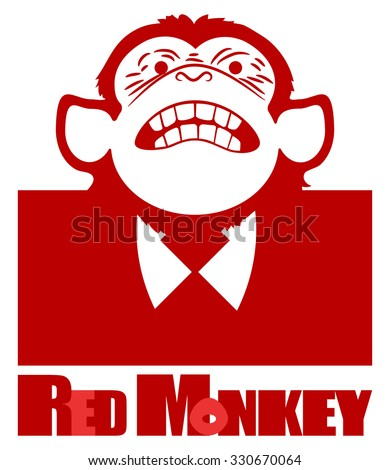 Red chimpanzees. Red, abstract, symbolic monkey in a business suit with a tie.