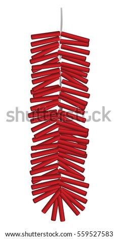 red chinese firecrackers vector on a white background
