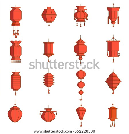 Red Chinese Lantern Set, vector illustration. Decorative icons for New Year