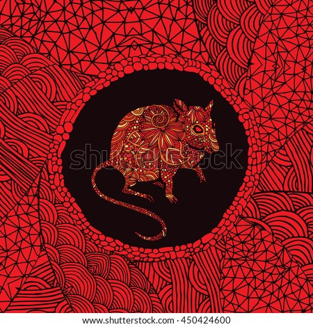 Red Chinese zodiac sign - Rat - stock vector