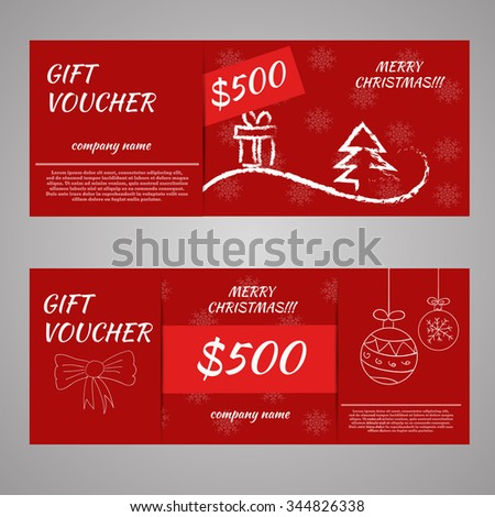 red christmas and new year gift voucher certificate coupon template. can be use for business shopping card, customer sale and promotion, layout, banner, web design. vector illustration eps 10 - stock vector