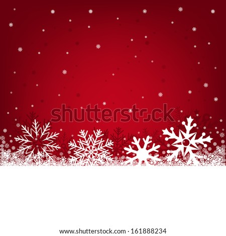 Red Christmas background on a winter theme with a beautiful falling snow - stock vector