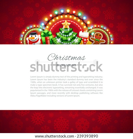Red Christmas Background with Copy Space. In the EPS file, each element is grouped separately. - stock vector