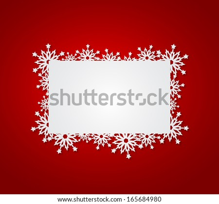 Red Christmas background with paper snowflakes. - stock vector
