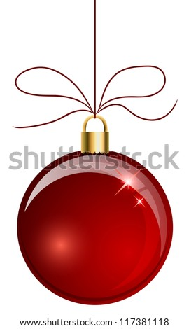 Red Christmas ball hanging on the string isolated on white background. - stock vector