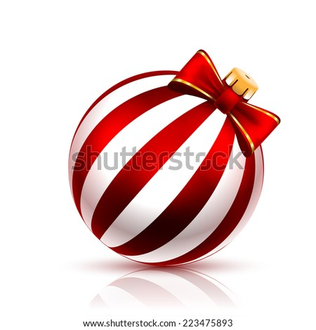 Red christmas Ball on white background. Vector illustration.