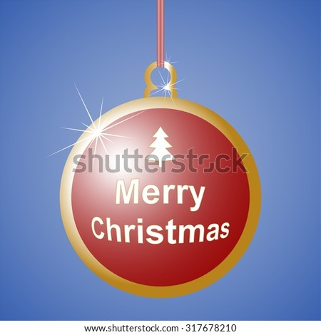 Red Christmas ball with Christmas tree and Merry Christmas sign with gold contours with shiny star suspended from a ribbon with red and white stripes - stock vector
