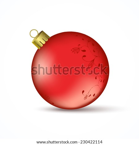 Red Christmas ball with ornaments isolated on a white background