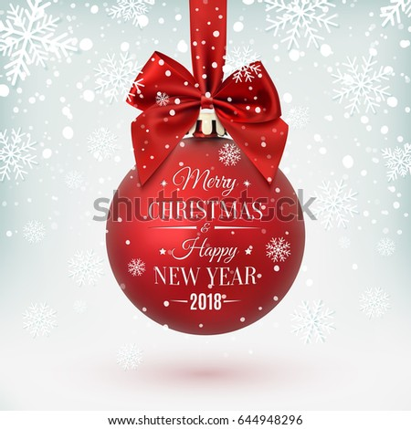 Red Christmas Ball Ribbon Bow On Stock Vector 644948296 - Shutterstock