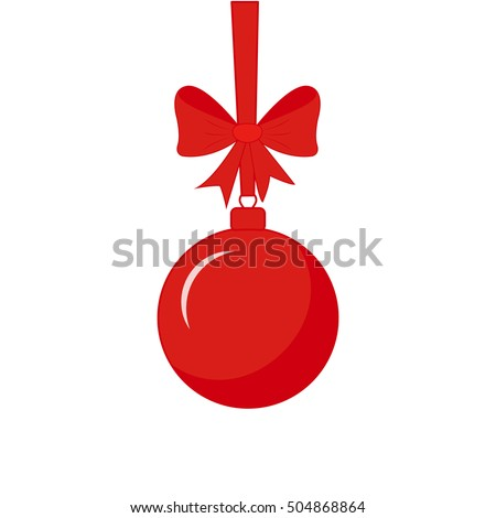 Red Christmas ball with ribbon and bow. Cartoon style Christmas decoration ball
