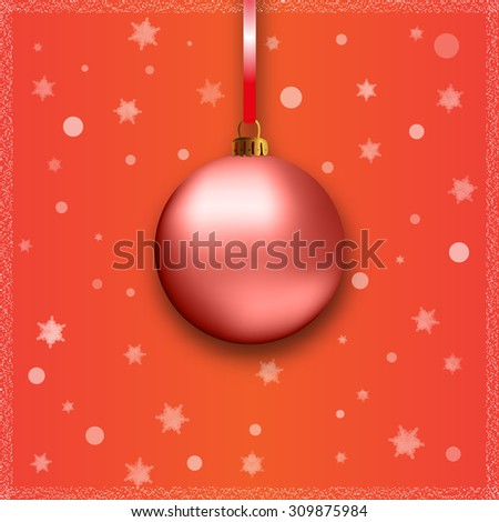 red christmas ball with ribbon on red background - stock vector