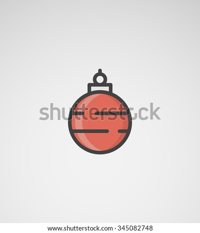 Red Christmas Ball with Stripes - stock vector