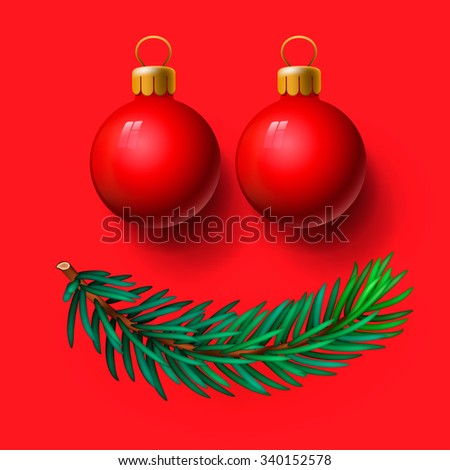 Red Christmas balls and fir twig, vector illustration. - stock vector