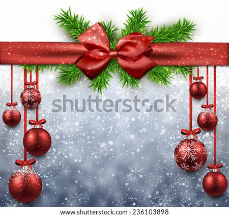 Red christmas balls background. Vector illustration.  - stock vector
