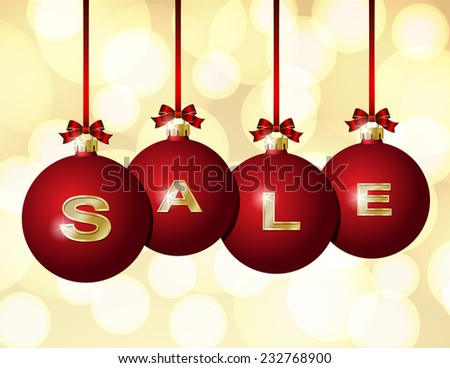 Red Christmas balls Hanging on Red Ribbons with golden word Sale written on them. - stock vector