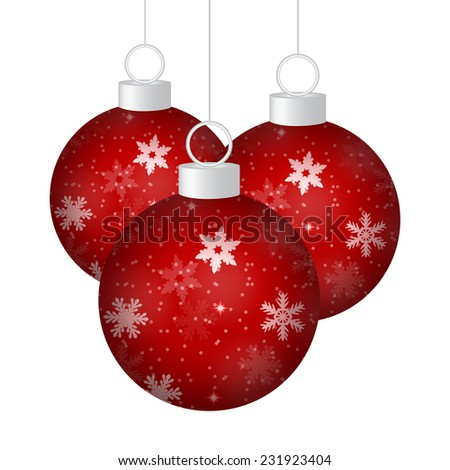 Red Christmas balls on a white background  - stock vector