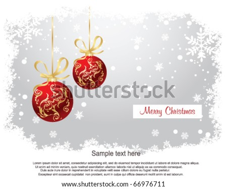 Red Christmas Balls on Christmas snowing background