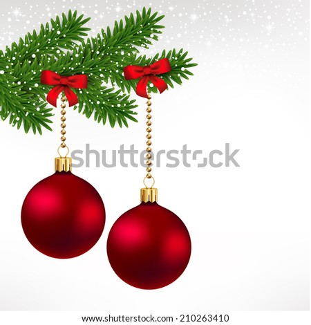 Red christmas balls on fir tree with ribbon - stock vector