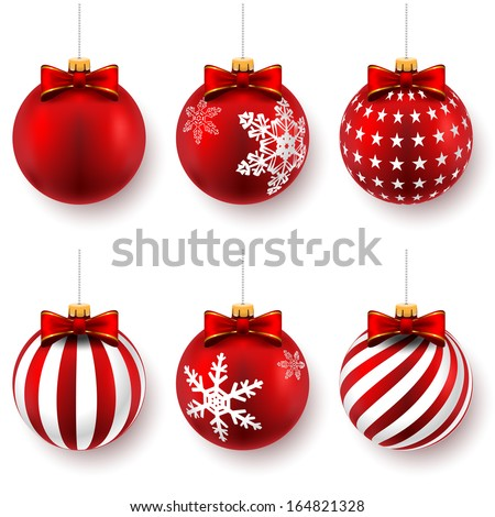 Red christmas balls on gift bows isolated on white. Set. Vector illustration.  - stock vector