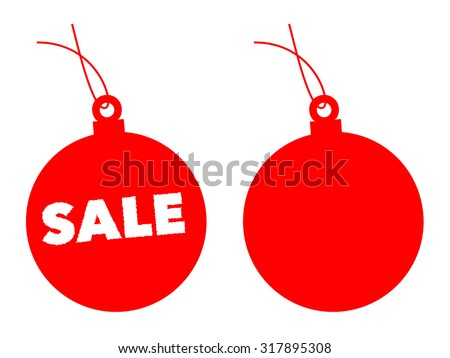 Red Christmas balls used for sale label - stock vector