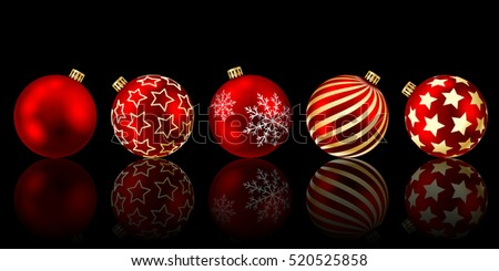 Red christmas balls with reflection on a black background. Vector illustration.