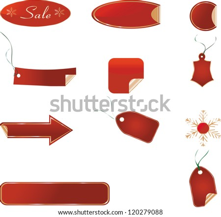 Red Christmas banners and price tags. Vector