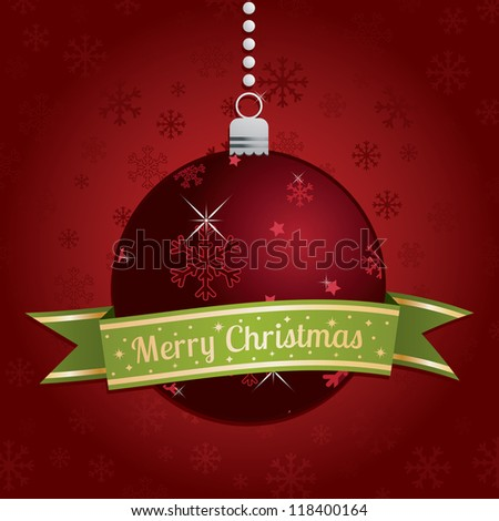 red christmas bauble decoration with green ribbon and seasonal message - stock vector
