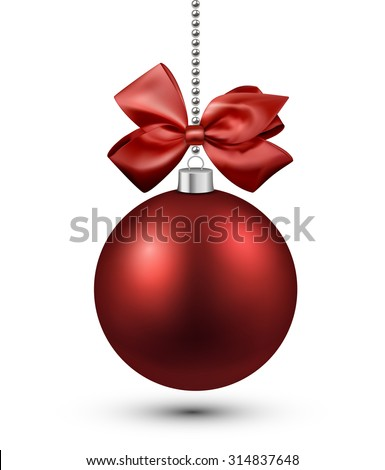 Red christmas bauble with bow. Vector illustration.