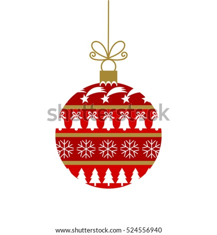 Red Christmas bauble with ornaments illustration
