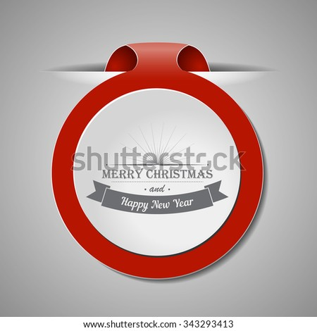 Red Christmas bookmark with shadows and wishes. Vector design element for decorate web sites, banners, congratulation cards.