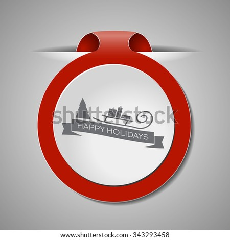 Red Christmas bookmark with shadows and wishes. Vector design element for decorate web sites, banners, congratulation cards. - stock vector
