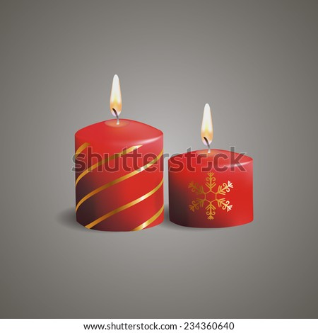 Red Christmas candles with snowflakes,EPS10