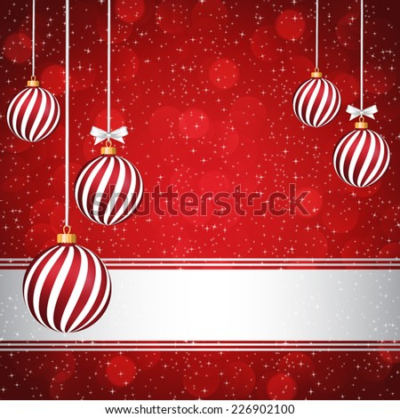 Red Christmas card with Christmas balls. - stock vector