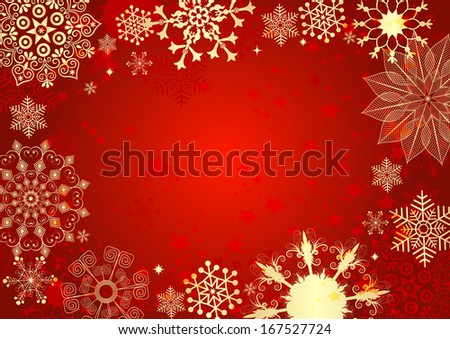 Red christmas card with gold snowflakes and stars (vector eps 10) - stock vector