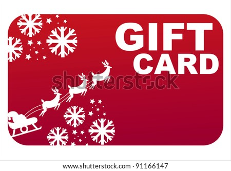 red  christmas gift card - stock vector