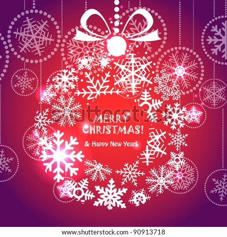 Red Christmas greeting card with wreath of snowflakes - stock vector