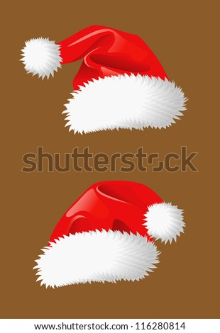Red christmas hats of Santa Claus for holiday design. Jpeg version also available in gallery - stock vector