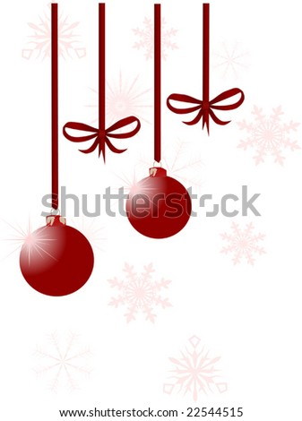 red christmas illustration with New-Year tree decorations