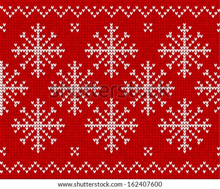 Red Christmas ornamental snowflake vector background - stock vector