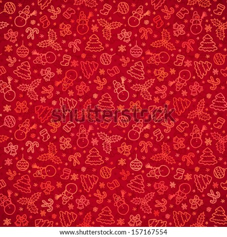 Red Christmas paper vector seamless pattern - stock vector