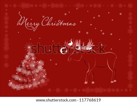 Red Christmas postcard with elk, snowflakes, stylized christmas tree and free space for text